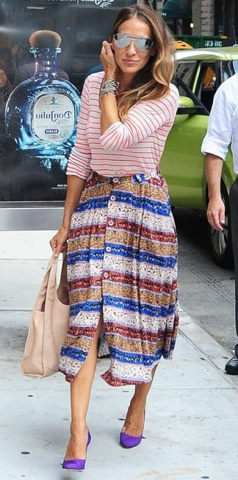 Sarah Jessica Parker mixed stripes outfit ~ SJP street style - flipped