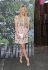 Presenter Laura Whitmore arrives for the Serpentine Summer Party in London, wearing a nude printed chiffon dress and elegant pointy pumps, 6 July 2016. Celebrity dresses | star style fashion | celebrities at events