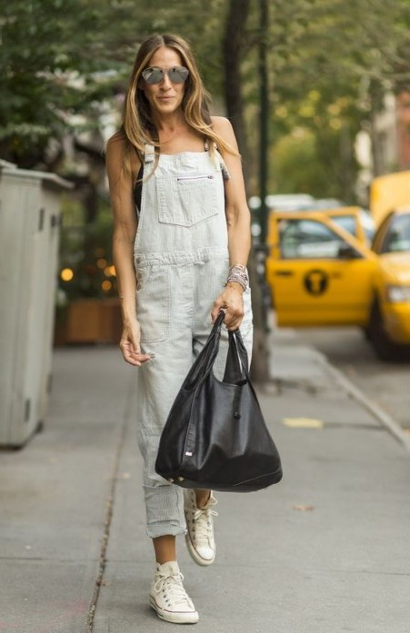Sarah Jessica Parker casual street style in light denim dungarees ~ SJP overalls ~ outfits - flipped