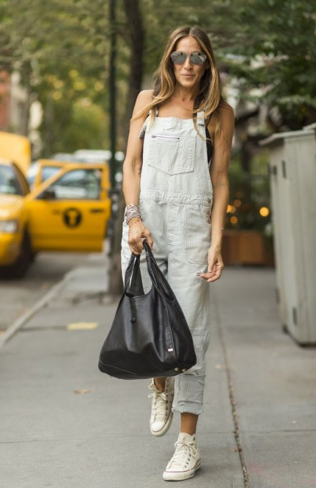 Sarah Jessica Parker casual street style in light denim dungarees ~ SJP overalls ~ outfits