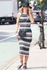 Nicky Hilton summer street style out in NYC wearing a striped sleeveless midi tank dress, wide brim hat & Valentino Rockstud double ankle-wrap flat espadrille sandals available from bergdorfgoodman.com