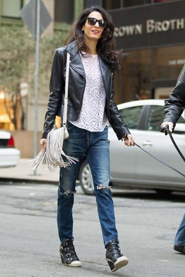 dressed up or down Amal Clooney always has great style…leather biker jacket, ripped jeans, wedge trainers and fringe shoulder bag ~ celebrity fashion ~ outfits ~ casual ~ style icon