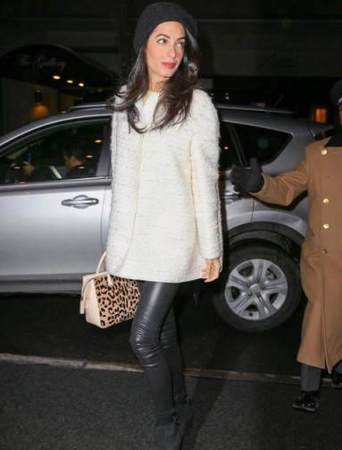 Amal casual chic ~ women with style ~ stylish outfits ~ leather skinny pants