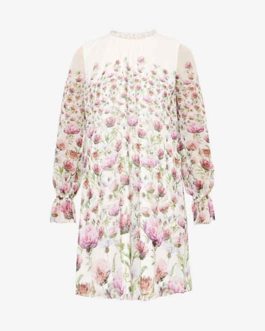 TED BAKER – DEASIL Thistle sheer dress in cream – as worn by Kim Murray while watching husband Andy play at Wimbledon, 6 July 2016. Celebrity style dresses | floral dresses | what celebrities wear