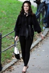 Leighton Meester as Blair Waldorf in gossip girl ~ chic black outfits ~ fashion & style ~ winter outfit ~ belted jackets