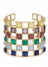 ISHARYA Abstract Mughal lattice gold-plated bracelet. Multi-coloured stone bracelets | statement cuffs | luxe style accessories | eye-catching jewelry