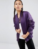 ASOS Ultimate Bomber Jacket in purple. On-trend jackets | shop the trend | trending fashion | casual clothing | weekend style