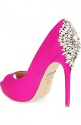 Badgley Mischka Kiara Crystal Back Open Toe Pump, pink satin shoes, party high heels, evening princess, glamorous accessories, jewel embellished, occasion glamour, peep toe courts
