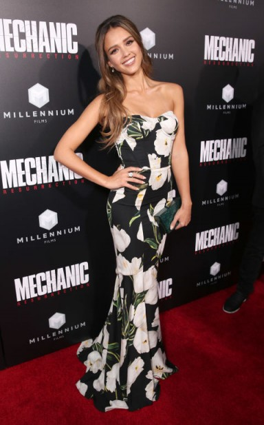 Jessica Alba wore a strapless tulip print gown from Dolce & Gabban at the premiere of Mechanic: Resurrection in Hollywood, California on August 22, 2016 – celebrity style – red carpet fashion – floral designer gowns