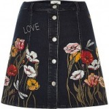 River Island Black floral embroidered A-line denim skirt. Pretty 70s style skirts | on-trend fashion | embroidery | flowers