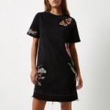 River Island Black washed embroidered T-shirt denim dress. Casual fashion | round neck shift dresses | embroidery | flowers and butterflies