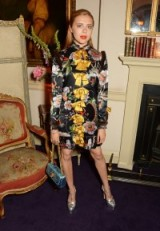 Actress Bel Powley wearing a black floral Gucci dress and accessories, attends the Gucci party celebrating the luxury brands Cruise 2017 fashion show in June 2016, London, England. Celebrity fashion | star style dresses | luxe style outfits