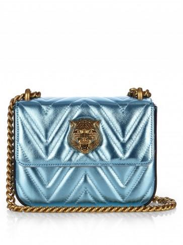 Metallic Leather Shoulder Bag Blue