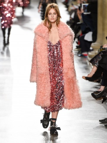 PREEN BY THORNTON BREGAZZI Candy curly-shearling coat. Fluffy pink ...