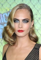 Cara vintage style hair, sparkling eye make up & red lips ~ celebrity retro beauty ~ shoulder length hairstyles