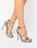 Carvela Georgia Strappy Heeled Sandals, metallic wrap high heels, evening shoes, glamorous stiletto heel, ankle strap glamour, feminine style