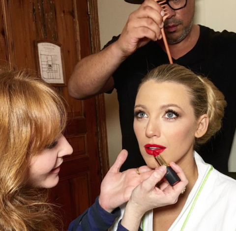 Beautiful Blake…Blake Lively having her hair and make up done for the 2016 Met Gala in NYC