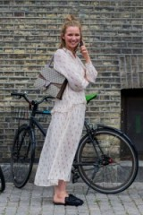 Street style at Copenhagen fashion week. Outfits | pretty printed dresses | backless loafers | Gucci handbags at gucci.com