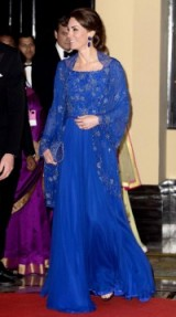 The Duchess of Cambridge in a blue sparkling Jenny Packham gown on her visit to India ~ Kate Middleton style ~ royal gowns ~ designer fashion