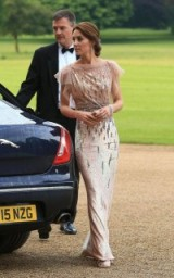 Kate Middleton looked stunning in this Jenny Packham gown, first worn in 2001 ~ royal dresses ~ Kate Middleton's style ~ embellished gowns ~ celebrity outfits
