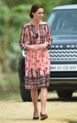 Catherine on a visit to India in Aprin 2016, dressed in a pink floral smock dress with black embroidery from Topshop and a pair of wedge espadrilles ~ Kate Middleton style ~ Duchess of Cambridge dresses ~ royal outfits ~ celebrity fashion