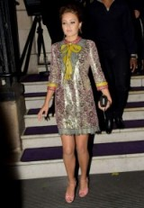 Ella Purnell in Gucci. Celebrity style | star fashion | luxe shift dresses | metallic printed dress