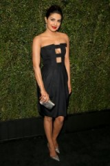 Priyanka Chopra chic in a little black strapless dress with front cut outs ~ Indian actresses ~ style ~ fashion ~ glamour