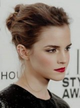 Emma Watson messy updo. Celebrity updos | star style beauty | hairstyles and make up