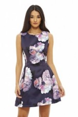 ax paris FLORAL PRINTED SKATER DRESS NAVY ~ large flower prints ~ fit and flare style ~ sleeveless ~ fashion