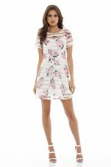 ax paris FLORAL STRIPED SKATER DRESS CREAM ~ floral print dresses ~ pink flower prints ~ printed fashion