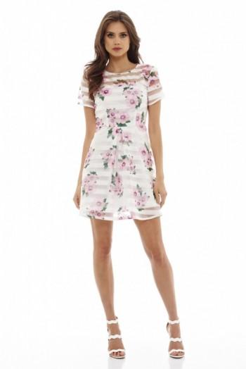 38bdb65934 ax paris FLORAL STRIPED SKATER DRESS CREAM ~ floral print dresses ~ pink  flower prints ~