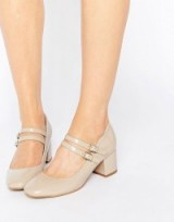 Glamorous Double Strap Mary Jane Mid Heeled Shoes stone patent ~ mid heel Mary Janes