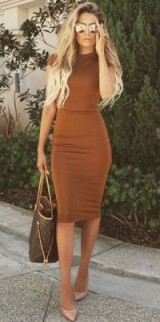 Cinnamon-brown bodycon dress, nude pumps, Louis Vuitton handbag, fitted dresses, autumn fashion, chic looks