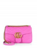 Gucci GG 2.0 Medium Quilted Leather Shoulder Bag in pink – as worn by Rosie Huntington-Whiteley on Instagram, 27 August 2016. Celebrity bags   designer handbags   star style accessories   chain strap flap bag