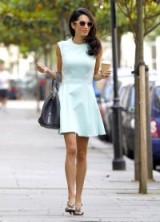 Amal Clooney's perfect summer look wearing a sleeveless mint green fit and flare dress ~ celebrity street style ~ outfits