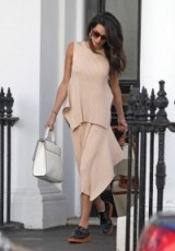 Effortless style in a nude knit combo and white satchel bag ~ Amal Clooney's wardrobe ~ stylish outfits