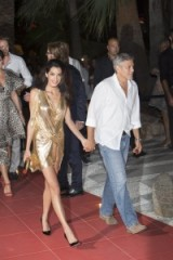 Stunning in a gold lame dress ~ celebrity couples ~ Amal Clooney glamour ~ glamorous dresses