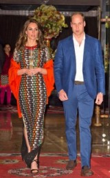 The Duchess of Cambridge wore a multi coloured embroidered sheath dress by Tory Burch with an orange wrap and black strappy sandals when she visited Bhutan in April, 2016 ~ Kate Middleton style ~ long designer dresses ~ royal fashion ~ celebrity outfits