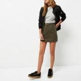 River Island Khaki A-line denim skirt. Green mini skirts | casual fashion