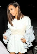 Kim Kardashian long smooth bob. celebrity sleek hairstyles | Kardashian's hair