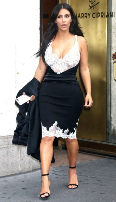 Kim Kardashian black and white lace Celine slip dress and barely there sandals - flipped