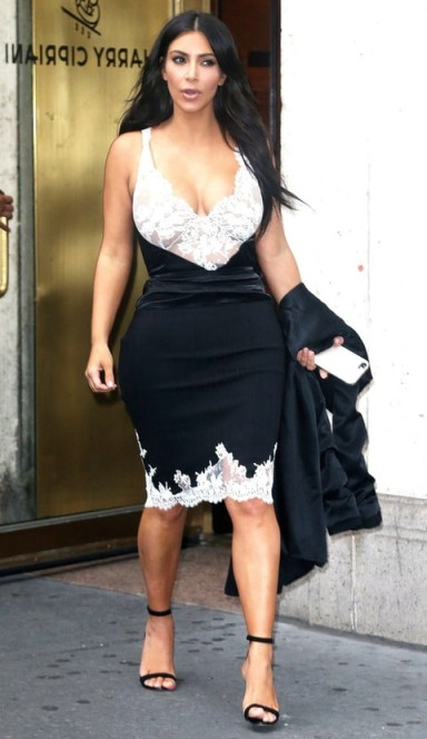 Kim Kardashian black and white lace Celine slip dress and barely there sandals