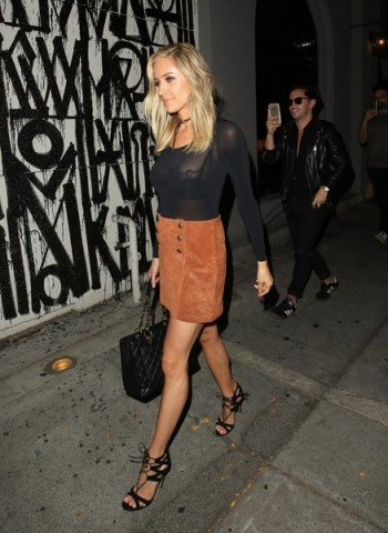 Kristin Cavallari rocking a 70s style tan suede mini skirt ~ celebrity fashion ~ street style outfits ~ celebrities wearing skirts