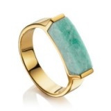 monica vinader LINEAR STONE RING 18ct Gold Plated Vermeil on Sterling Silver. Blue / green amazonite gemstone jewellery   gemstones   modern design rings   contemporary jewelry   luxe style