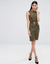 Michelle Keegan Loves Lipsy Belted Wrap Dress, khaki green bodycon dresses, fitted fashion