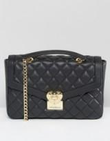 Love Moschino Quilted Shoulder Bag – faux leather bags – black designer handbags – chain shoulder strap