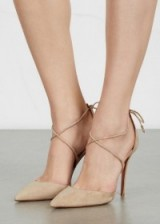 AQUAZZURA Matilde sand suede pumps, strappy shoes, pointed toe, luxe high heels, stiletto heel