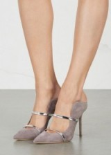 MALONE SOULIERS Maureen grey suede mules, high heeled shoes, luxe stiletto heels