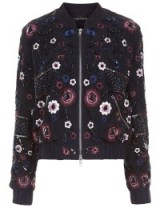 NEEDLE & THREAD Midnight Embroidered Folk Bomber Jacket in navy. Floral embellished jackets | casual luxe fashion