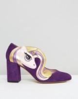 Minna Parikka Sparks Purple Unicorn Heeled Shoes – chunky block heel – almond toe – unicorns – high heels – suede footwear – fun & cute
